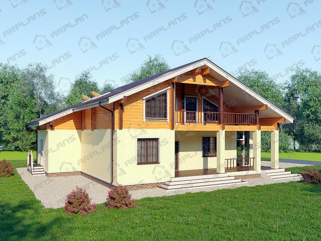 Дом из пеноблоков с каркасной мансардой